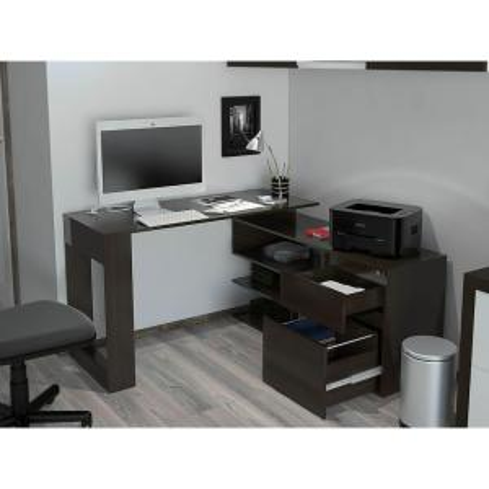 alteza espresso l shaped desk with lock drawer and file