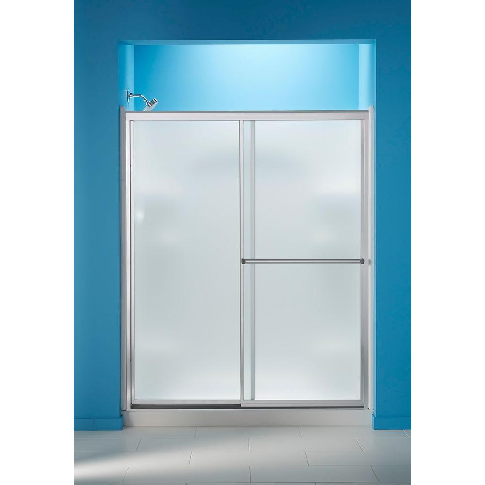 STERLING 59-3/8 in. x 70-1/4 in. Framed Sliding Shower Door in Silver with Frosted Glass Pattern and ComforTrack Technology