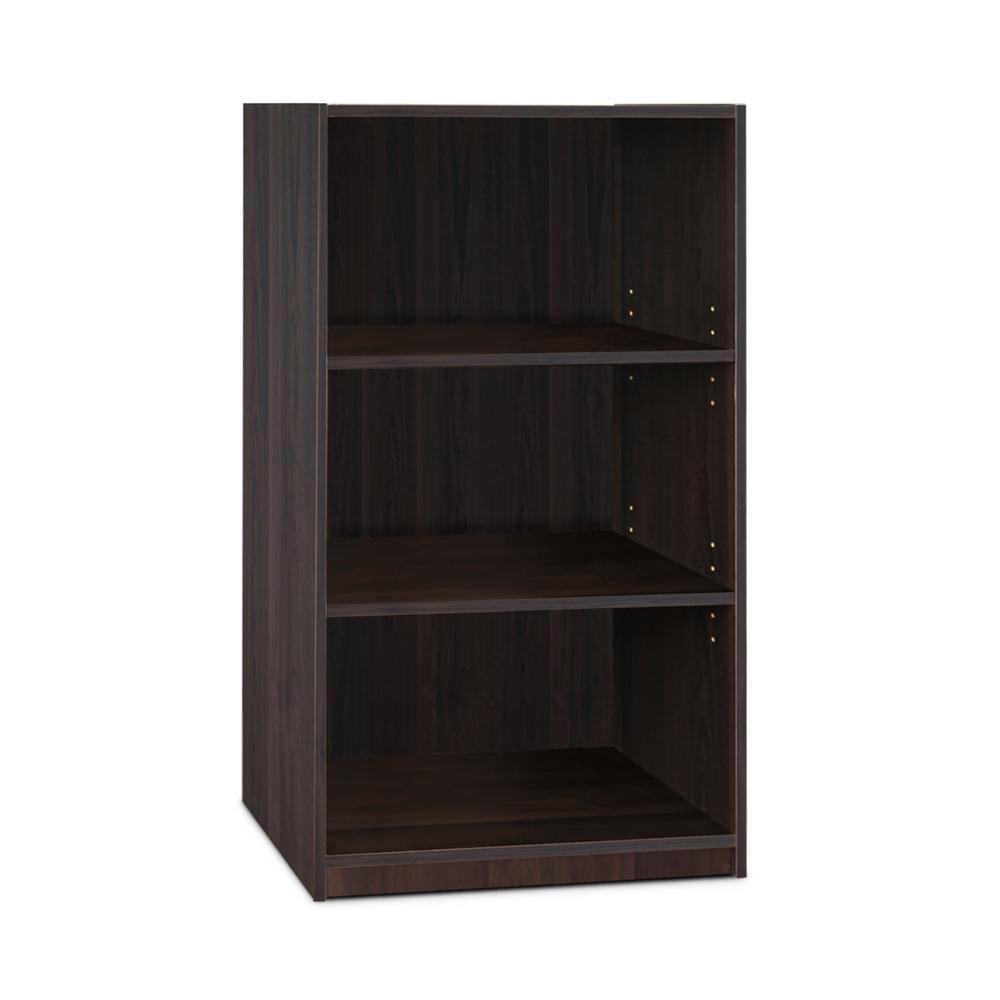 Jaya 3-Shelf Espresso Open Bookcase