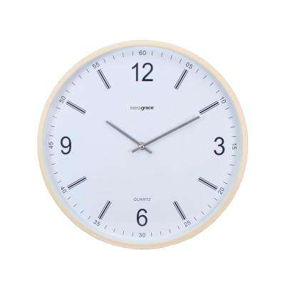 6-Pack Neo Wall Clock with Convex Glass Lens, 14 in., 1.5 in. D - Natural Wood