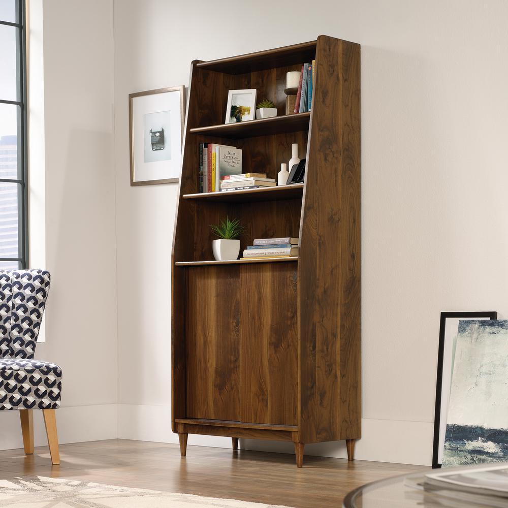 Sauder Harvey Park Grand Walnut Wide Bookcase 420282 The