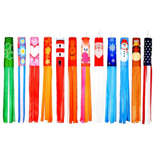 60 in. Seasonal Theme Windsocks - Blows in the Wind - (Set of 12)