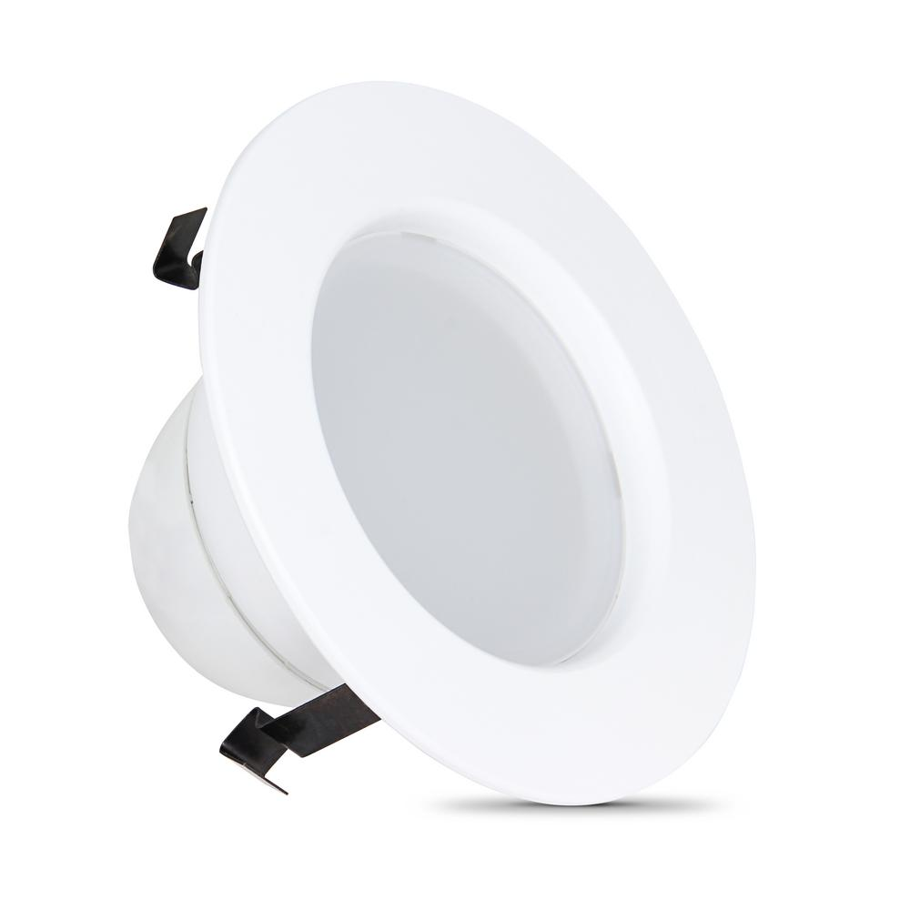 Feit Electric 4 In 7 2 Watt Dimmable White Integrated Led Energy Star Recessed Retrofit Trim Downlight With Color Changining Cct