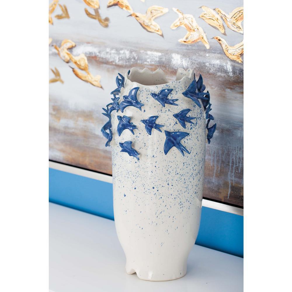 Ceramic White Decorative Vase With Bird Sculptures