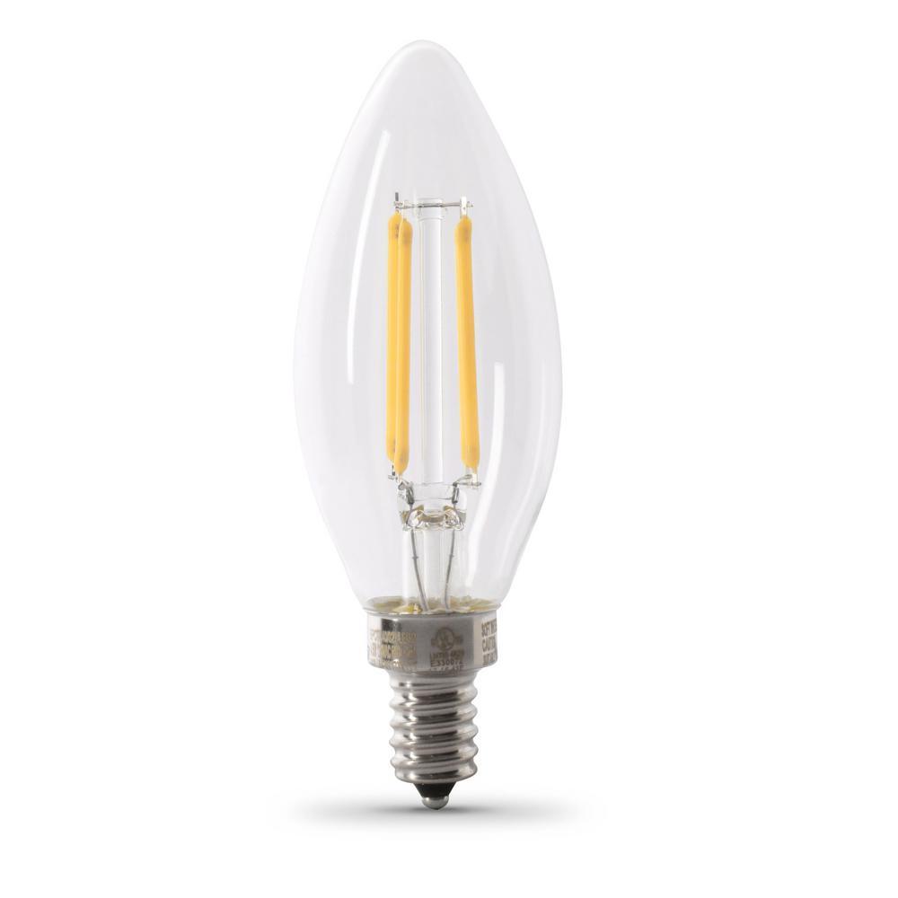 40-Watt Equivalent B10 Candelabra Dimmable Filament CEC Clear Glass Chandelier LED Light Bulb, Soft White (48-Pack)