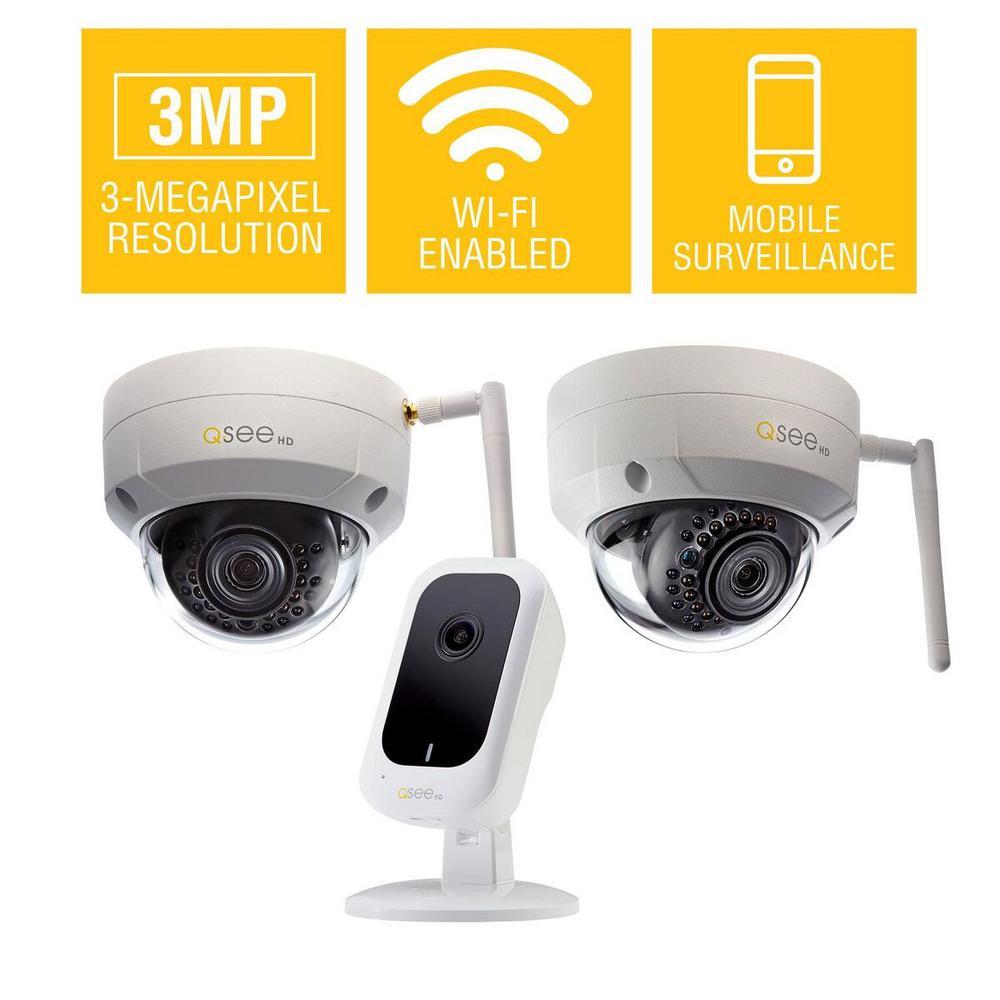 (2) 3MP Wi-Fi IP Dome Surveillance Camera with 3MP Wi-Fi IP Mini Cube Surveillance Camera Security Bundle