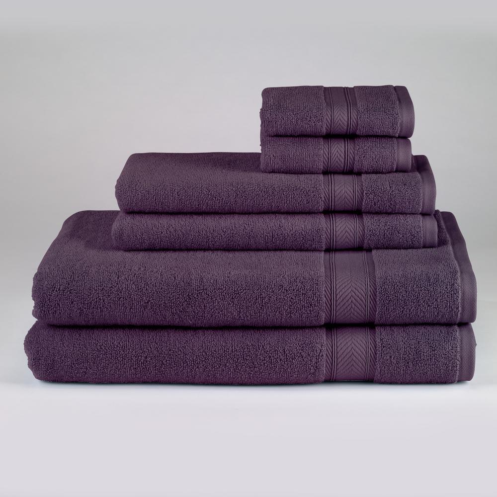 Solid 6-Piece Bath Towel Set in Plum