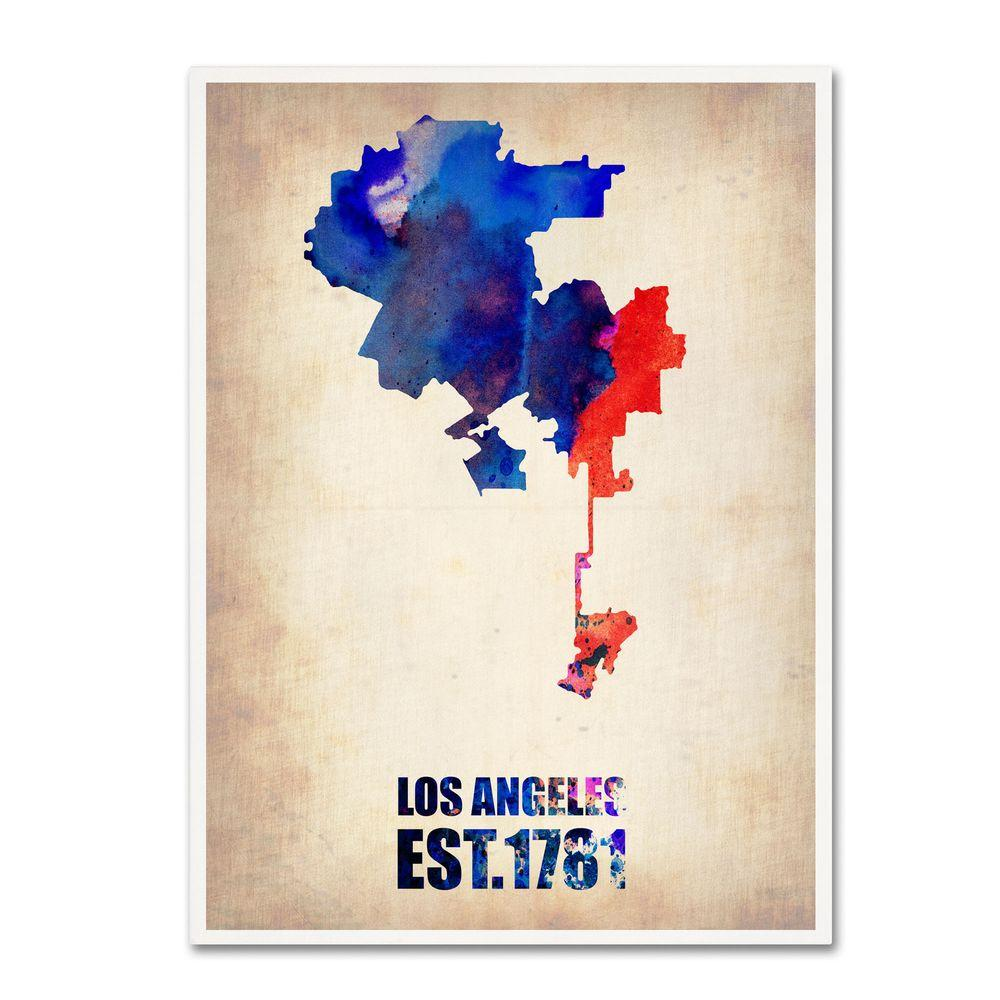 Trademark 19 in. x 14 in. Los Angeles Watercolor Map 2 Ca...