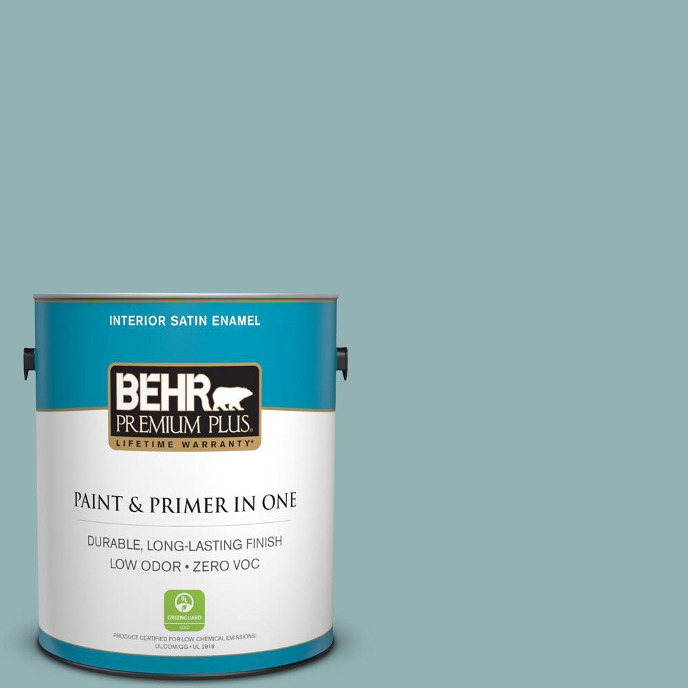 BEHR Premium Plus 1-gal. #500F-5 Gulf Winds Zero VOC Satin Enamel Interior Paint, Turquoises/Aquas