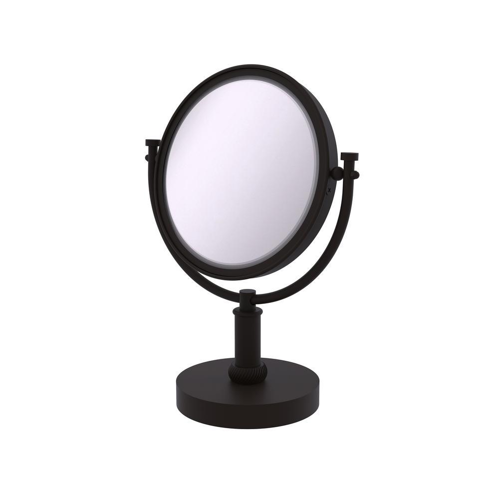 8 in. x 15 in. x 5 in. Vanity Top Makeup Mirror 5X Magnification in Oil Rubbed Bronze