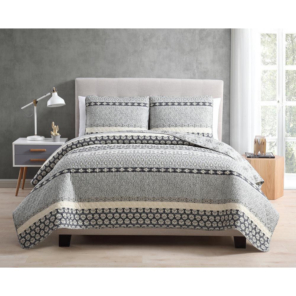 MHF Home Noreen Gray 3-Piece Full/Queen Quilt Set