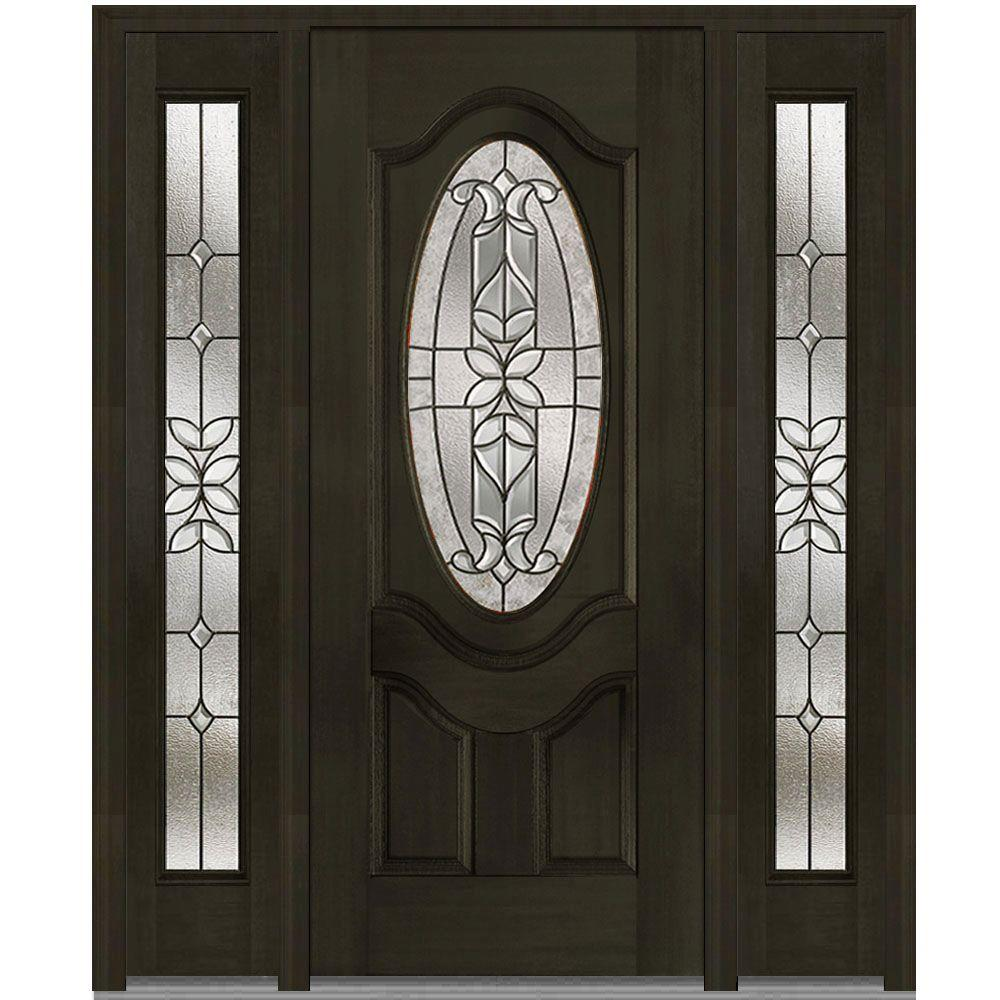 60 in. x 80 in. Cadence Right-Hand Oval Lite Decorative Stained