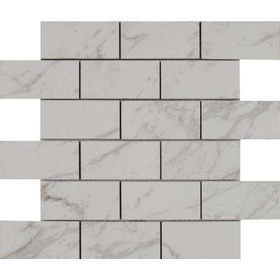 Carrara 12 in. x 12 in. x 10mm Polished Porcelain Mesh-Mounted Mosaic Tile (8 sq. ft. / case)