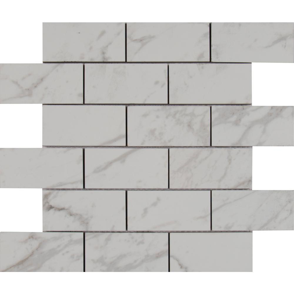 Msi carrara 12 in x 12 in x 10 mm polished porcelain mesh msi carrara 12 in x 12 in x 10 mm polished porcelain mesh mounted mosaic tile 8 sq ft case npiecar2x4p the home depot dailygadgetfo Gallery