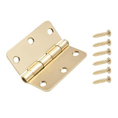 3-1/2 in. x 1/4 in. Satin Brass Radius Door Hinge