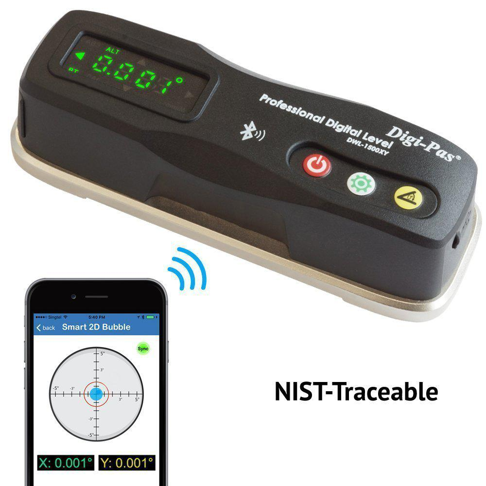 Digi-Pas 6 in. 2-Axis Smart Master Precision Level Bluetooth 0.0002/feet (0.02 mm/m)