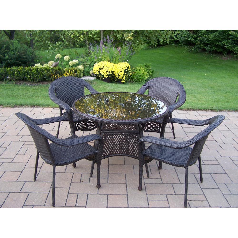 Elite Coffee 5-Piece Wicker Outdoor Dining Set