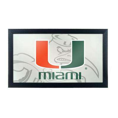 University of Miami Fade 15 in. x 26 in. Black Wood Framed Mirror