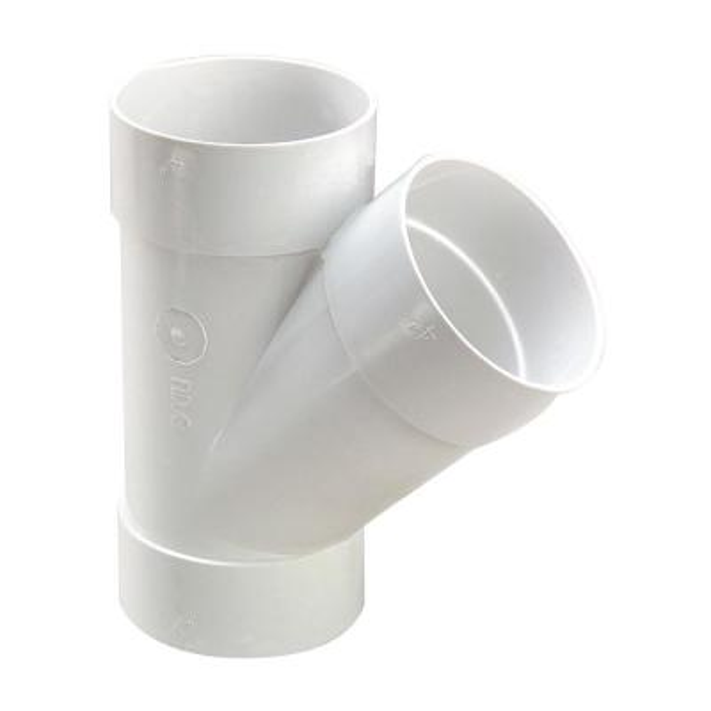 4 in. PVC Sewer and Drain 45° Hub x Hub x Hub Wye