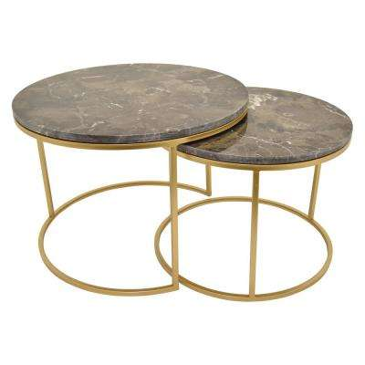 16.25 in. Gold Metal Marble Top Tables (Set of 2)