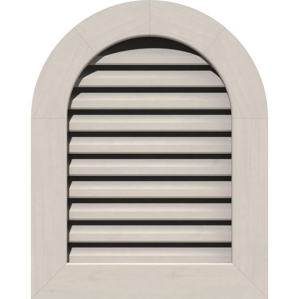 Ekena Millwork 21 In X 33 In Round Top Primed Smooth Pine Wood Paintable Gable Louver Vent Gvwrt16x2801sfppi The Home Depot