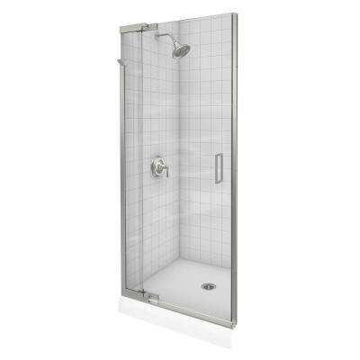 Purist 36 in. x 72 in. Heavy Semi-Frameless Pivot Shower Door in Vibrant Brushed Nickel with Handle
