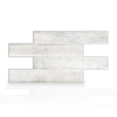 Norway Bleached 22.56 in. W x 11.58 in. H Grey Peel and Stick Self-Adhesive Mosaic Wall Tile Backsplash (2-Pack)