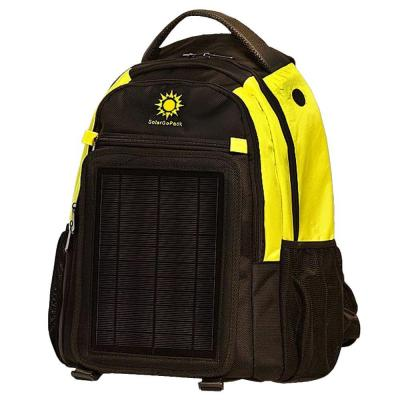 SolarGoPack 12K mAh Battery 5-Watt Size Solar Panel Charger Yellow and Black Solar Backpack