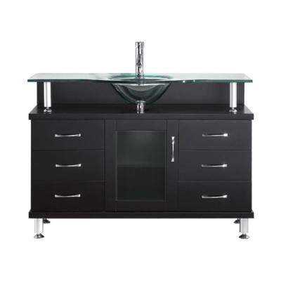 Vincente 48 in. W Bath Vanity in Espresso with Glass Vanity Top in Aqua with Round Basin