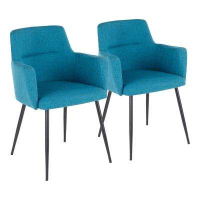 Andrew Contemporary Teal Dining/Accent Chair (Set of 2)