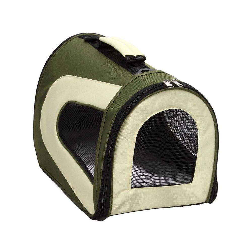 PET LIFE Airline Approved Green Sporty Folding Zippered Mesh Carrier - Medium