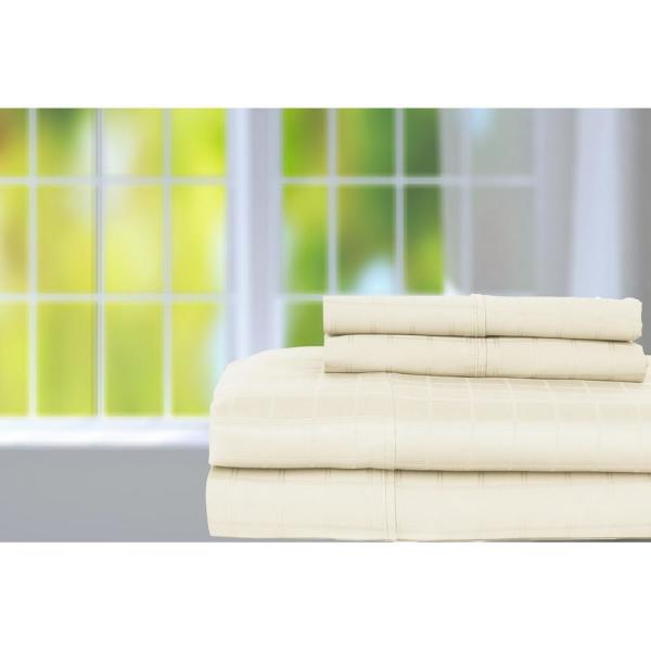 Perthshire 4 Piece Ivory Solid 350 Thread Count Cotton King Sheet Set T350k 1 Wp Ivr The Home Depot