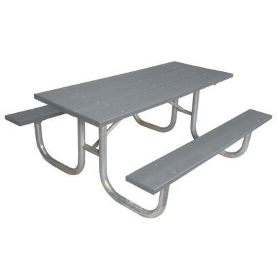6 ft. Gray Commercial Park Recycled Plastic Portable Table and Surface Mount