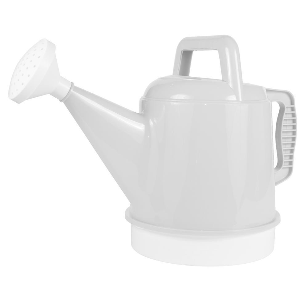 Deluxe 2.5 Gal. Casper White Plastic Watering Can