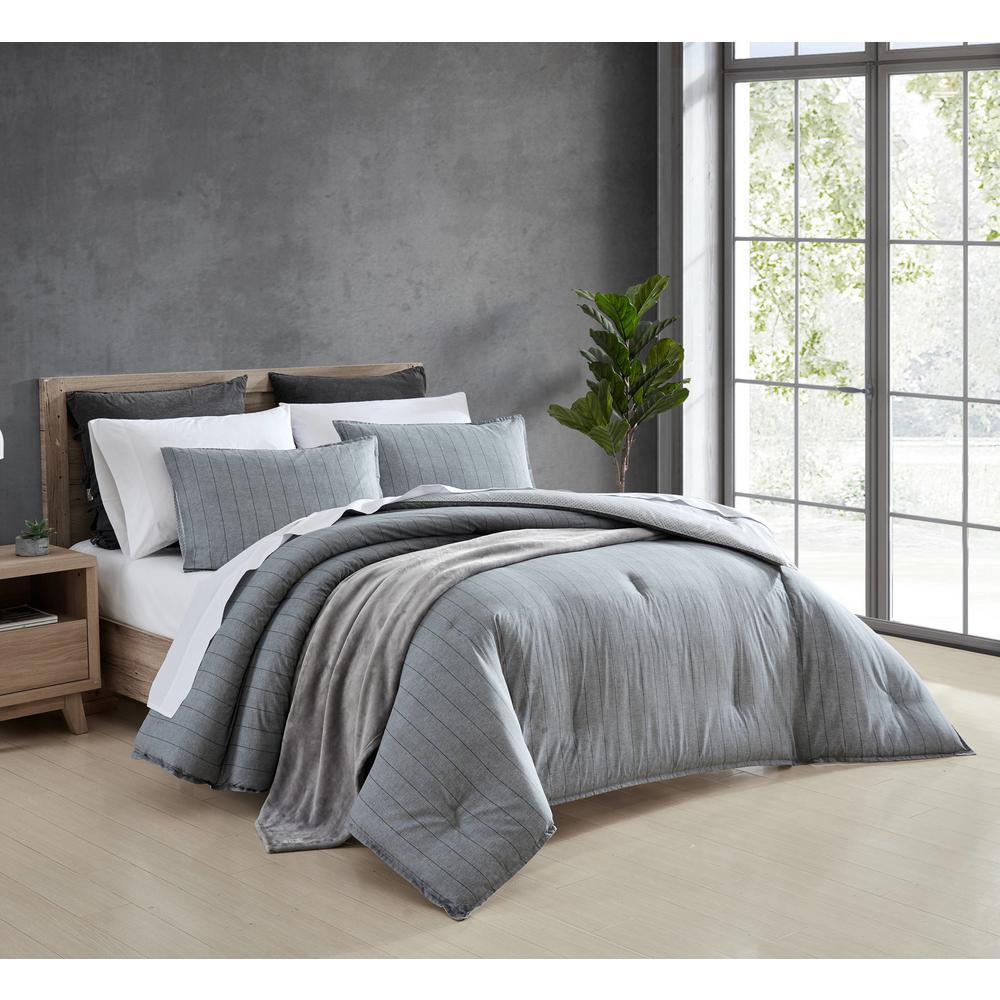 Chambray Pinstripe 3-Piece Gray Cotton Full/Queen Comforter Set