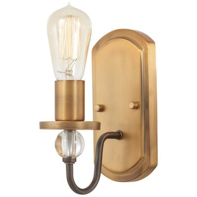 Safra 1-Light Harvard Court Bronze with Natural Brushed Brass Bath Light
