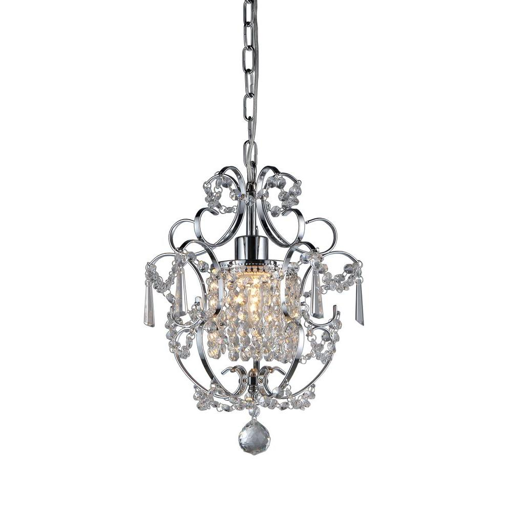 Veronica 1-Light Silver Crystal Indoor Hanging Chandelier