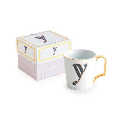 Love Letters 16 oz. White and Gold Coffee Mug Y