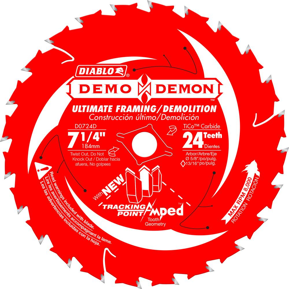 Diablo 7-1/4 in. 24-Teeth Demo Demon Tracking Point Amped Saw Blade