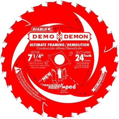 7-1/4 in. 24-Teeth Demo Demon Tracking Point Amped Saw Blade
