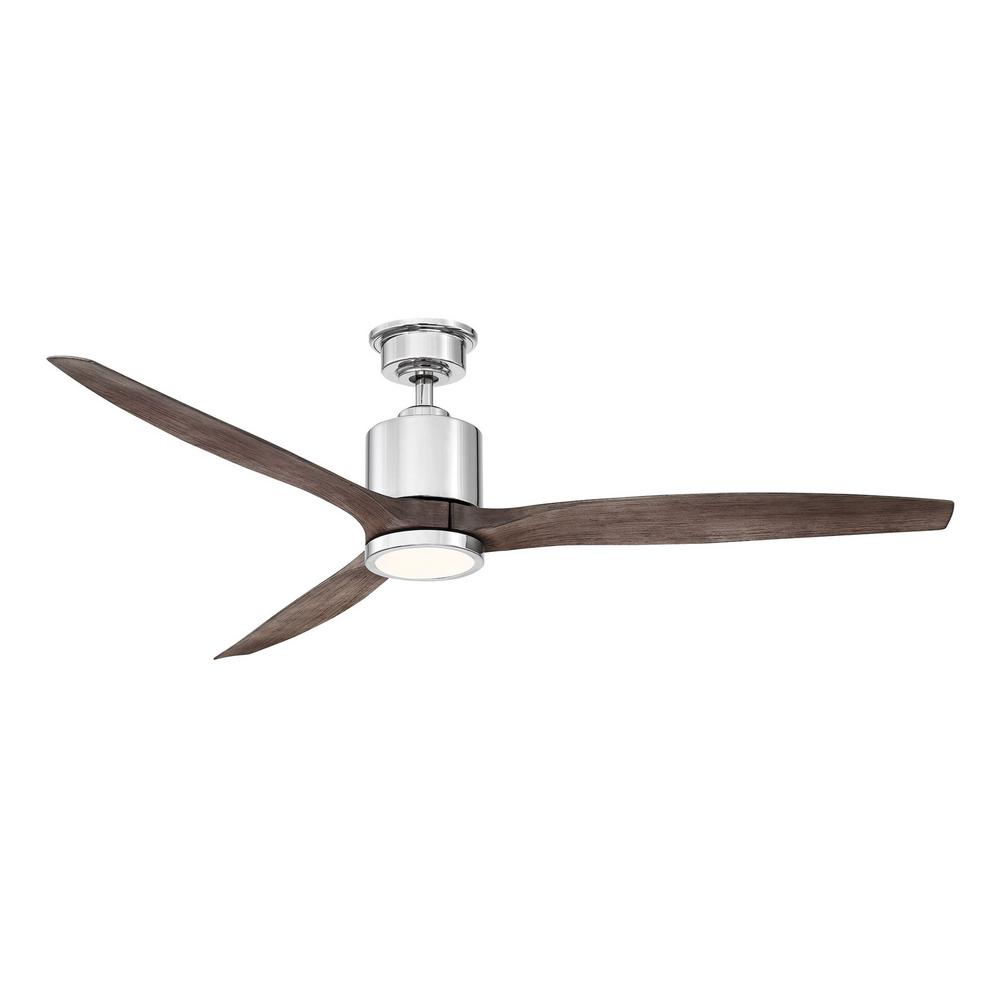 Home Decorators Collection Triplex 60 in.  LED Polished Nickel Ceiling Fan with Light