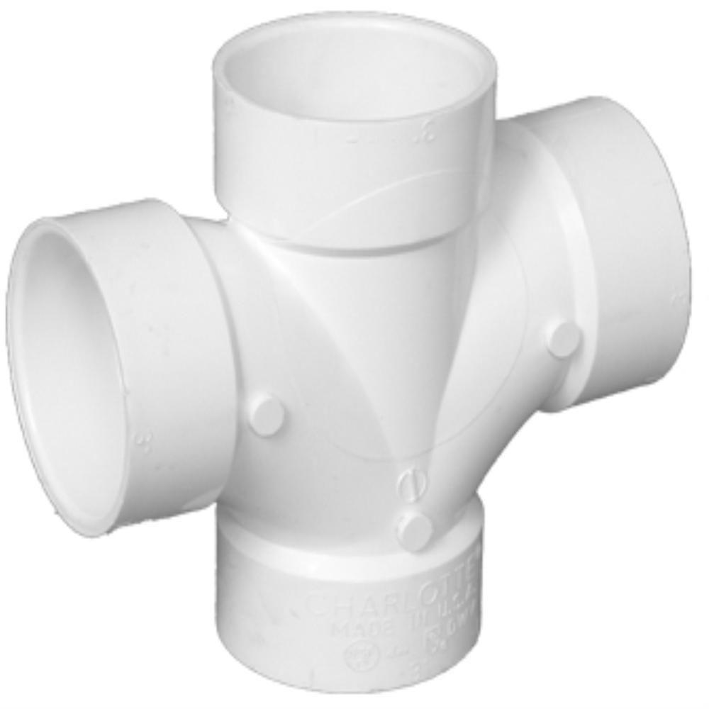 Charlotte Pipe 3 in. DWV PVC Double Sanitary Tee
