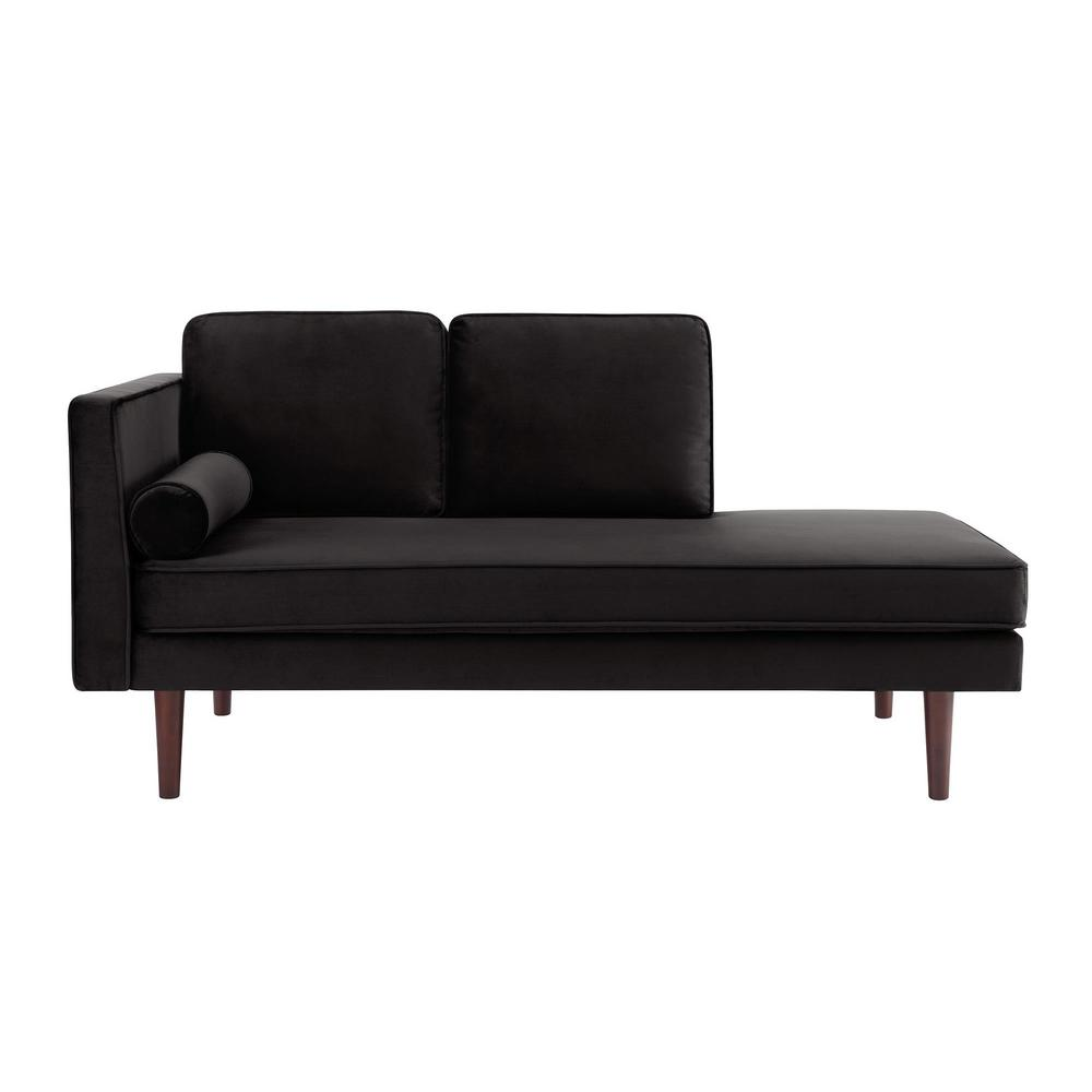 Dhp nico mid century black velvet modern upholstered for Black velvet chaise lounge