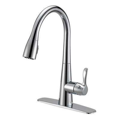 Tuscany Collection Single-Handle Pull-Down Sprayer Kitchen Faucet with Solid Lever Handle - Chrome