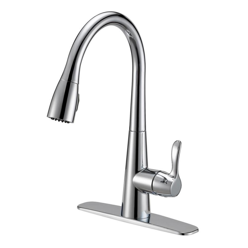 Ez Flo Tuscany Collection Single Handle Pull Down Sprayer Kitchen Faucet With Solid Lever Handle Chrome 10701 The Home Depot