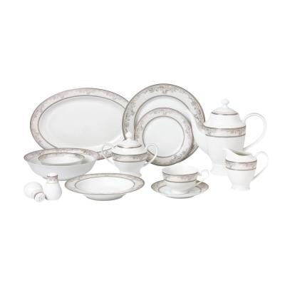 57-Piece Patterned Silver Accent Bone China Dinnerware Set (Service for 8)
