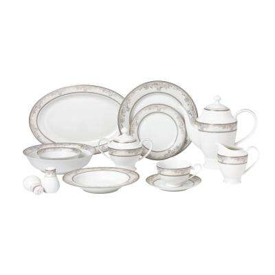 57-Piece Silver Dinnerware Set-New Bone China Service for 8-People-Juliette