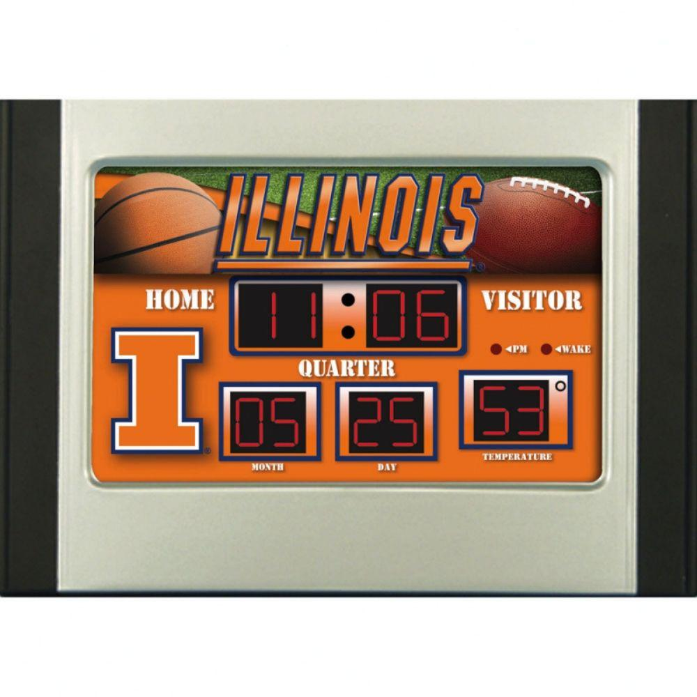 null University of Illinois 6.5 in. x 9 in. Scoreboard Alarm Clock with Temperature