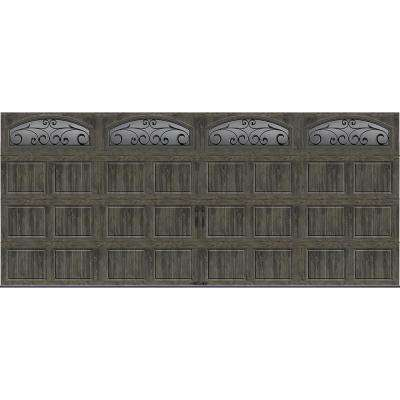 Gallery Collection 16 ft. x 7 ft. 6.5 R-Value Insulated Ultra-Grain Slate Garage Door with Window