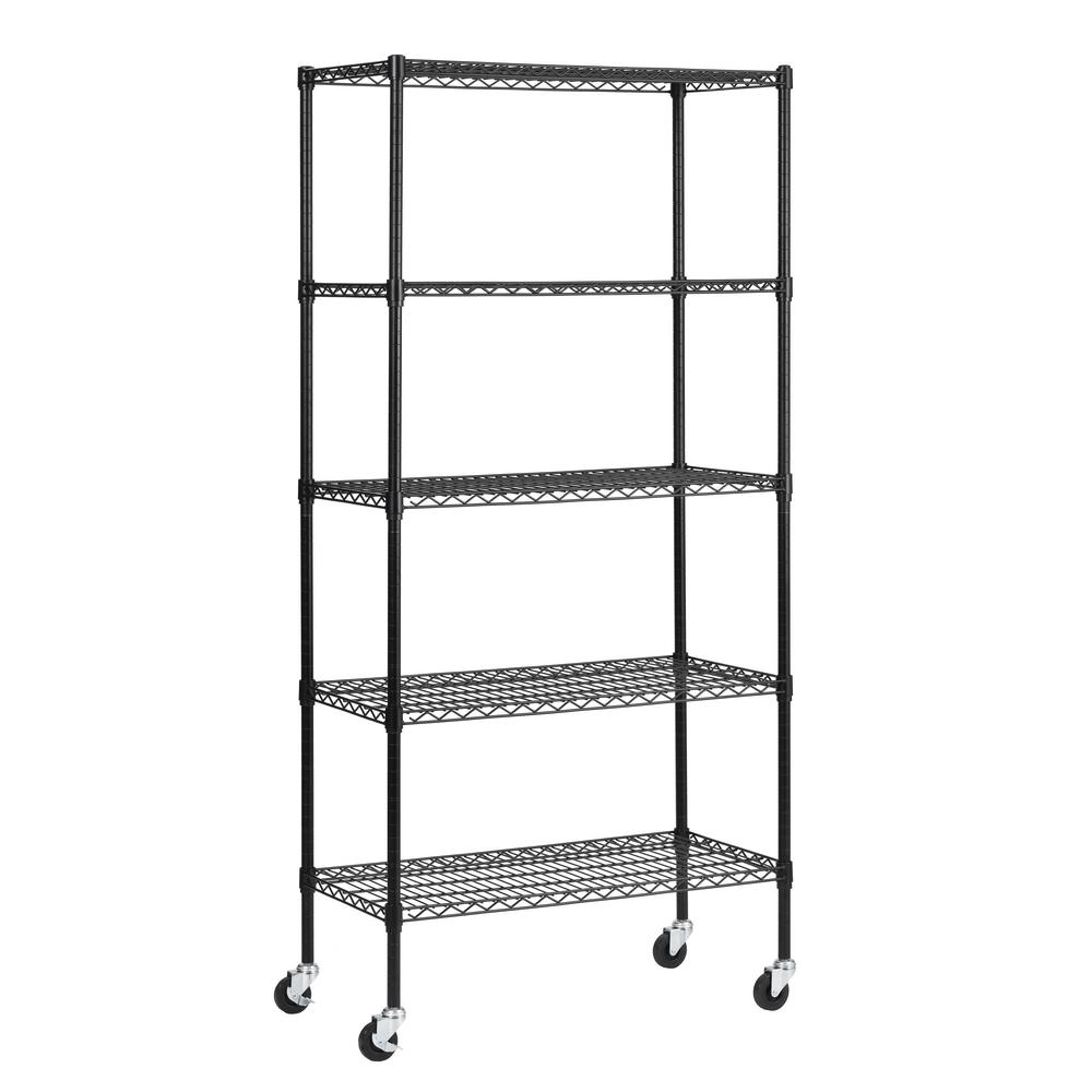 Muscle Rack 72 in. H x 36 in. W x 18 in. D 5 Shelf Black Wire Mobile Commercial Shelving Unit